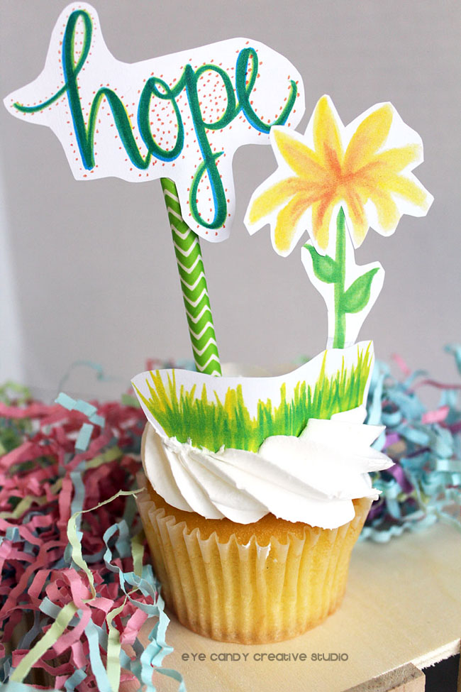 hope cupcake topper, hand lettering, flowers, free download, yellow flower