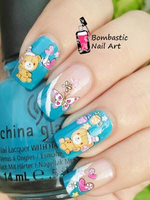 Teddy day nail art
