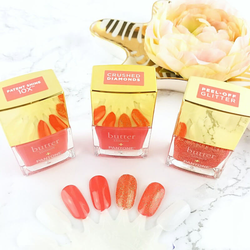 butter london x pantone color of the year 2019 living coral nail lacquer collection swatches