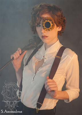 Latex steampunk monocle/monogoggle designed to look like a copper or brass gear/cog/deep sea for costume and cosplay