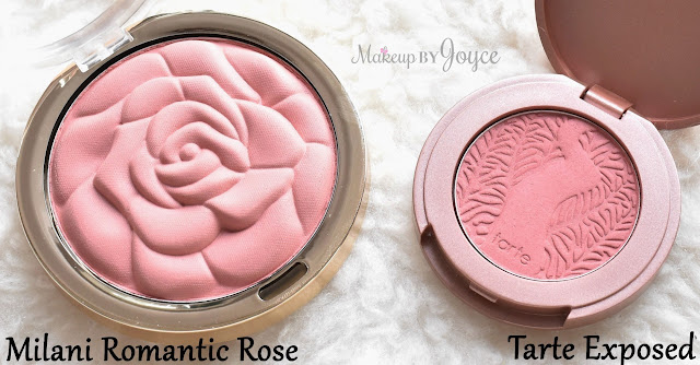 Tarte Exposed Blush Dupe Milani Romantic Rose Swatches