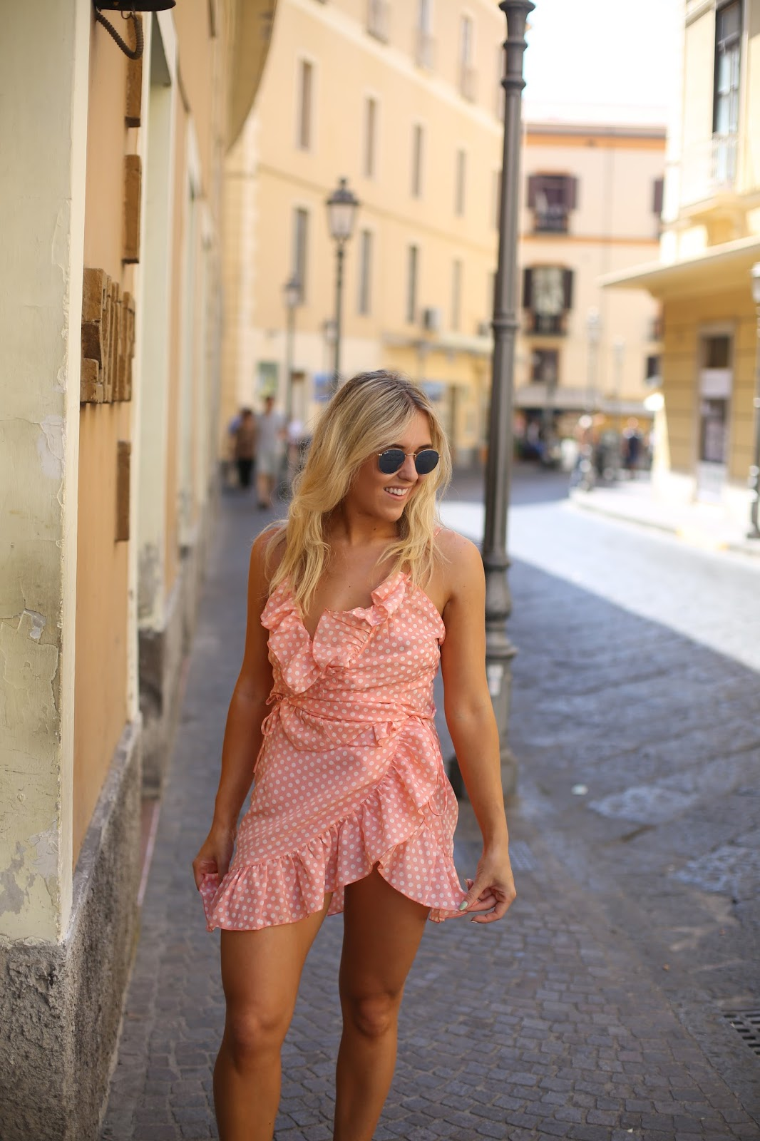 pink dotty wrap over dress