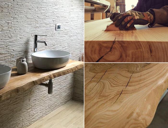 Arredo bagno con base del lavabo in legno personalizzato