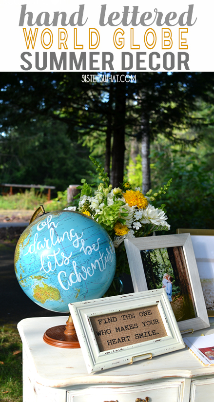 hand lettered world globe for inside living room decor or for summer country wedding reception