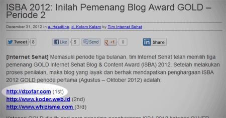Pemenang ISBA GOLD