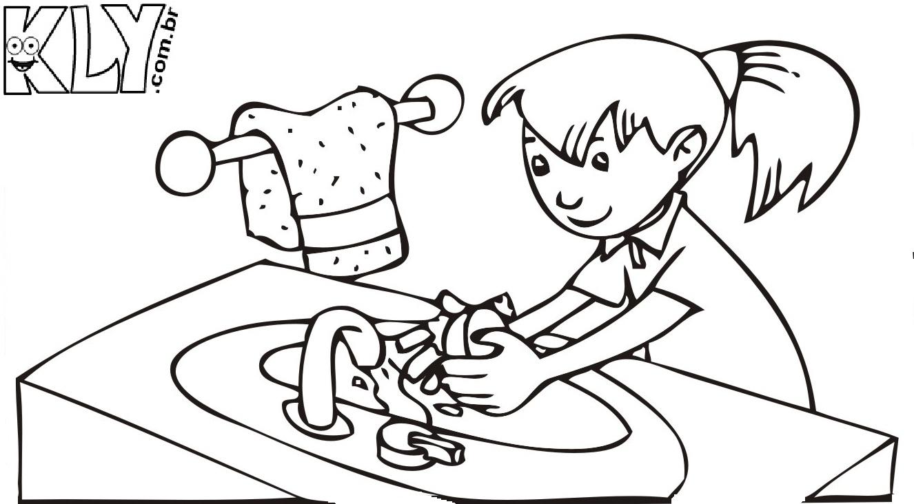 desenhos para colorir higiene pessoal