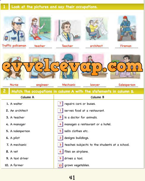 6. Sınıf Ada Matbaa Yayınları İngilizce Çalışma Kitabı 41. Sayfa Cevapları Unit 7 Occupations