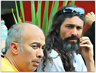 Os bonequeiros Carlos Piñero e Nelson Haas