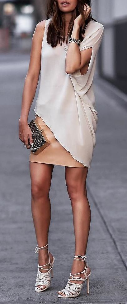 summer fashion trends idea: dress + heels + bag