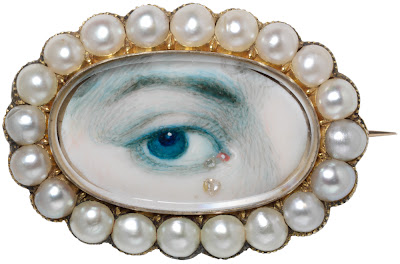 An 18th century eye miniature painting, part of the V&A Collection