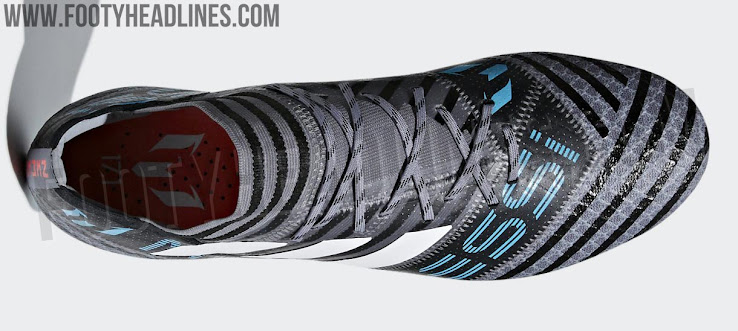 timeless design 3bb39 d64a3 The only hint that the first Adidas Nemeziz Messi 2018 football boots are  part of the collection are the red end of the studs.