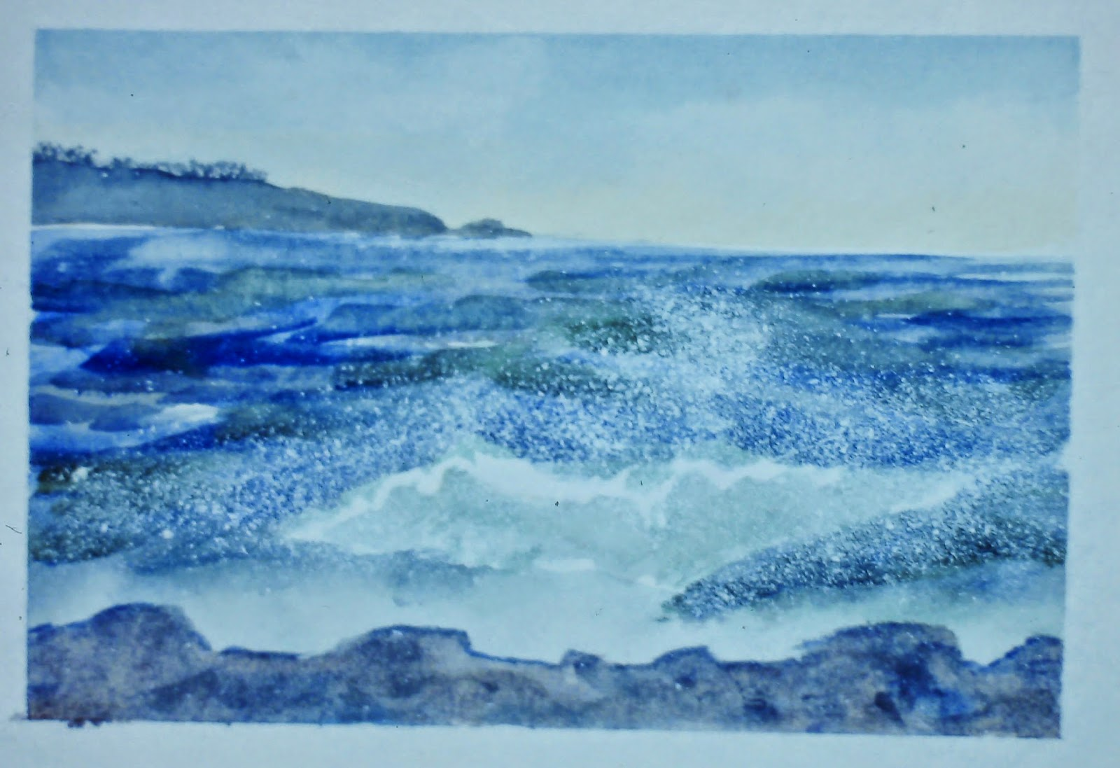 North Sea, near Stonehaven, Angus, Scotland  8x10 inches. Watercolor on paper, c. 1989.  In a private collection in St. Cyrus, Scotland