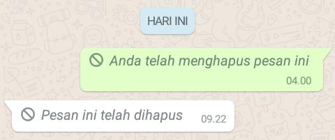 pesan WhatsApp yang sudah terlanjur dibaca pun masih dapat kita hapus Cara Menghapus Pesan WhatsApp yang Terlanjur Terkirim