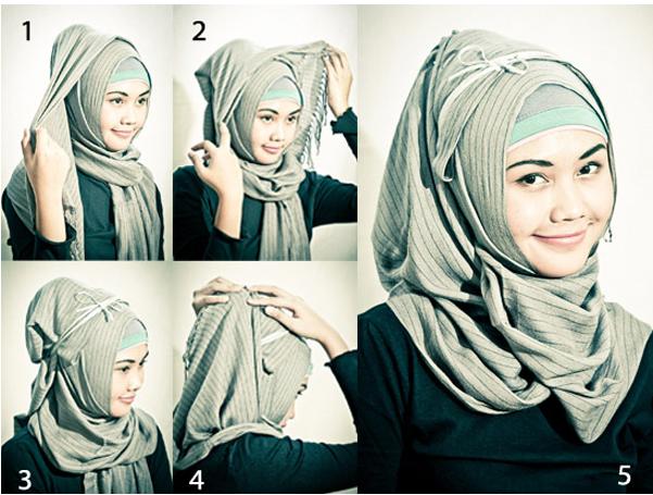 Cara pakai Jilbab Untuk Wajah Bulat