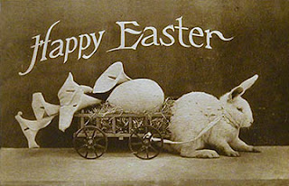 Antique vintage Easter Post Card postcard with bunny Real Photo