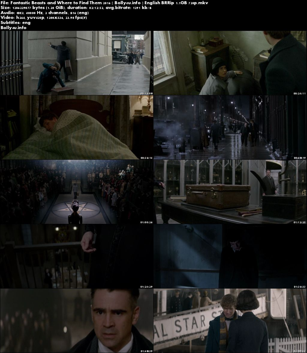 Fantastic Beasts and Where to Find Them 2016 BRRip 1.1Gb English 720p Download