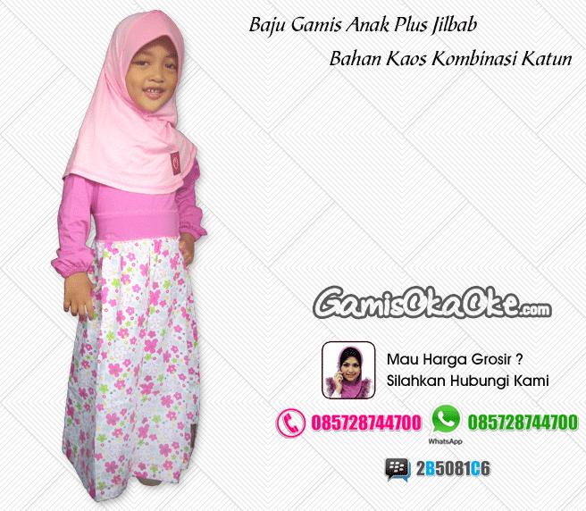 Gamis anak oka oke solo plus hijab dengan model terbaru harga murah