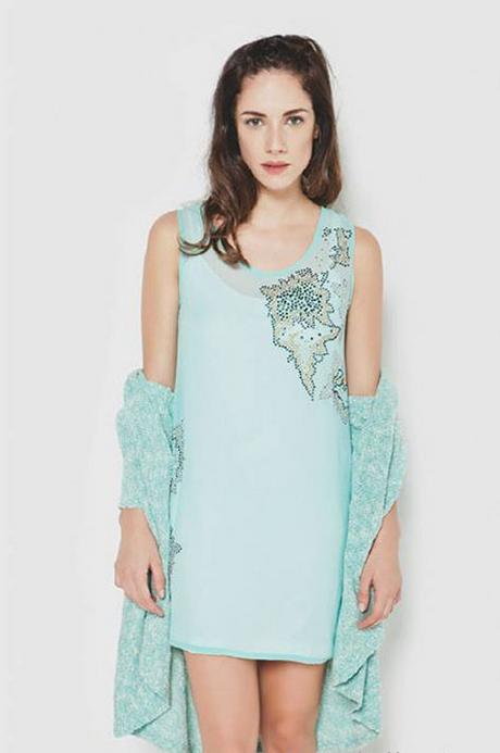 vestido casual celeste