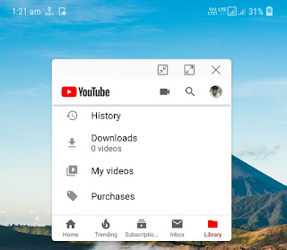 Use YouTube app in pop-up view