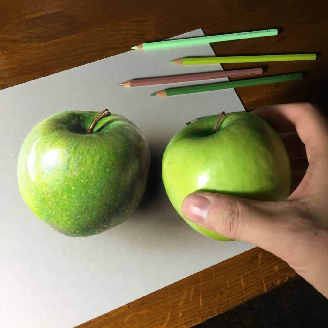 03-Apple-Drawing-vs-Reality-Marcello-Barenghi-Drawings-that-Mirror-Reality-www-designstack-co