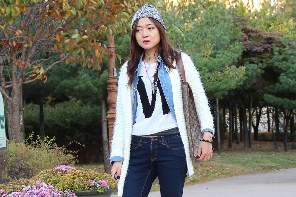 Gucci, converse, fashion blogger, fashion, trend, bag, korea, dream, layer look, фейшнблогер, интересно, наслоение, кеды, кардиган, шапка-гондонка, джинсовая рубашка, как носить джинсовую рубашку, сумка гучи