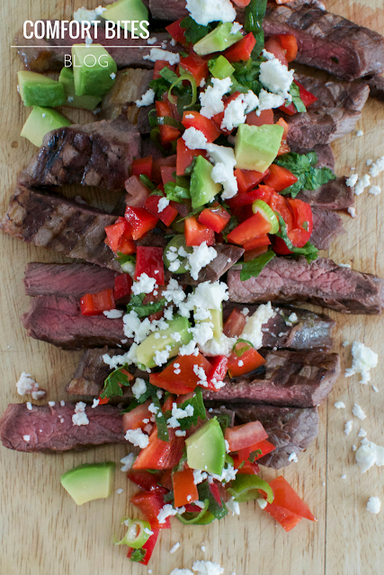 Brazilian Picanha Steak with Red Pepper Salsa and Feta