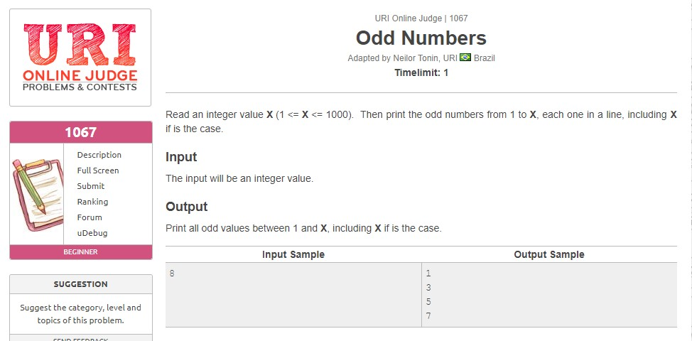 URI Online Judge Solution 1067 Odd Numbers - Solution in C, C++, Java, Python and C#