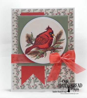 Our Daily Bread Designs Stamp Set: Winter Cardinal, Custom Dies: Pierced Circles, Pierced Squares, Pierced Rectangles, Paper Collection: Christmas 2017