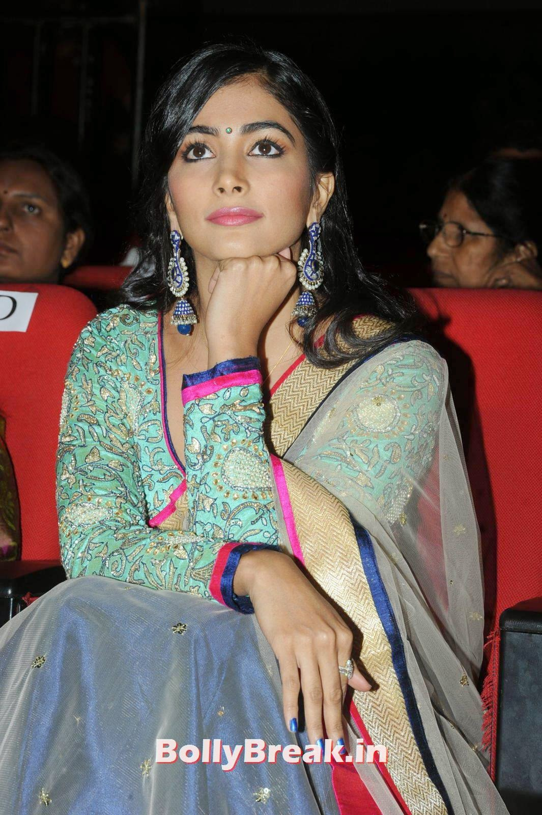 Actress Pooja Hegde Latest Photo Gallery, hot Pics of Pooja Hegde from Mukunda Movie Audi Launch