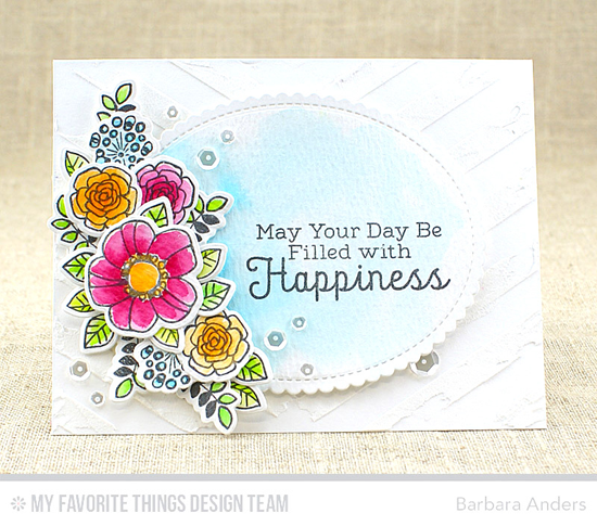 Filled with Happiness Card by Barbara Anders featuring the Rainbow Greetings stamp set, Pretty Posies stamp set and Die-namics, Mini Scallop Oval STAX Die-namics, and One Way Chevron stencil #mftstamps