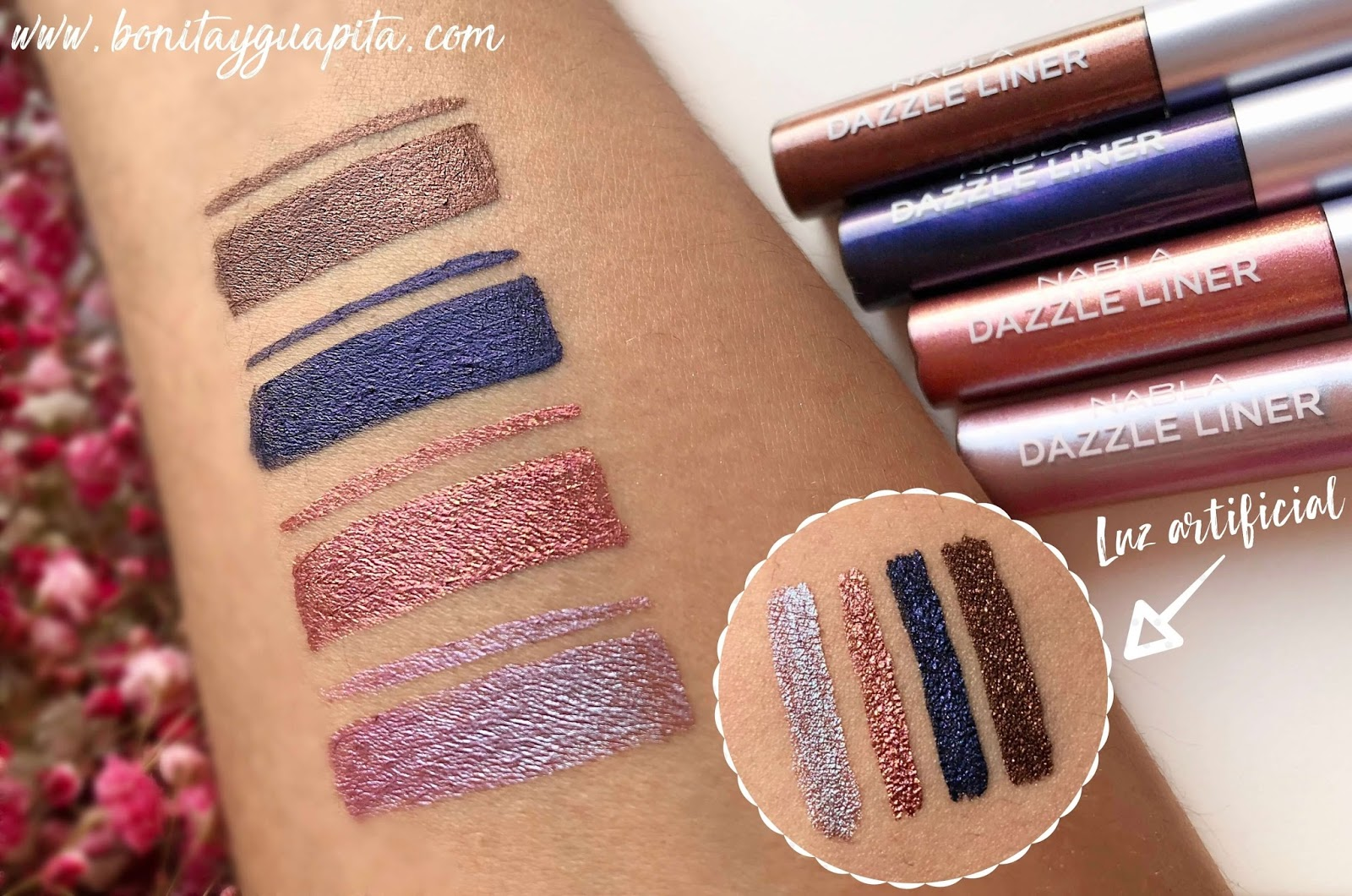 nabla swatches dazzle liner soul blooming