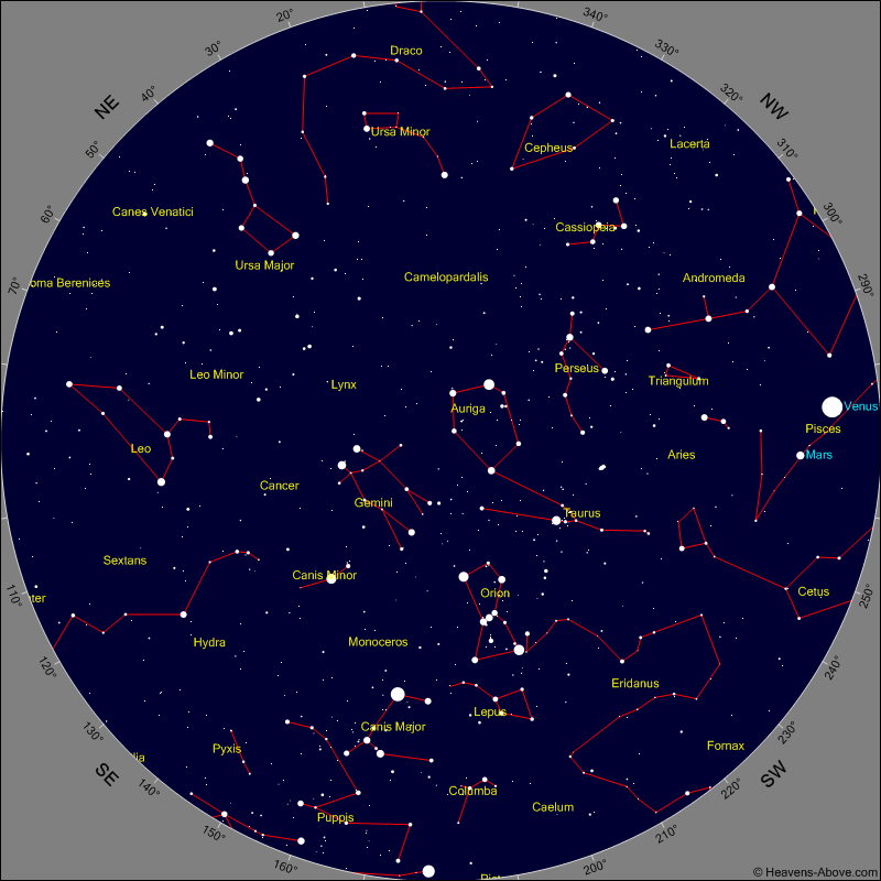 Evening Sky Chart for Thursday Feb 23rd