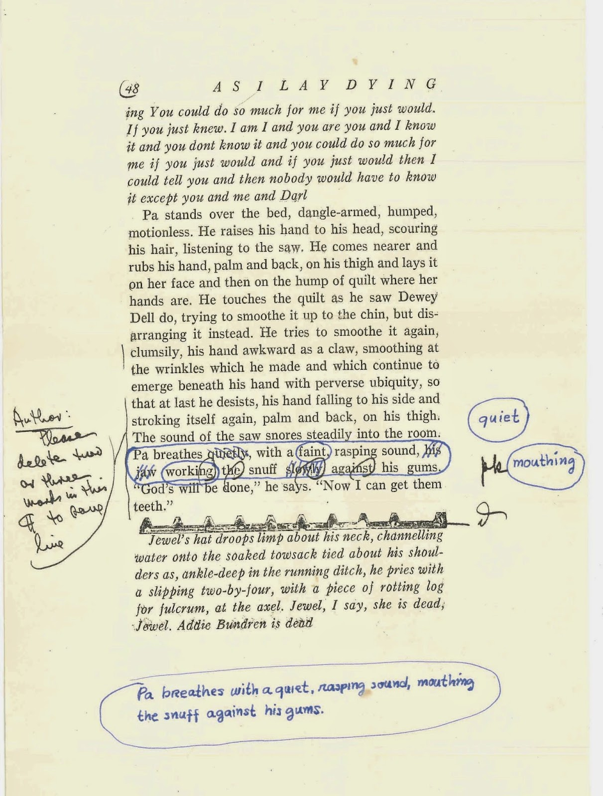 "A page from ""As I Lay Dying"" with handwritten notes."