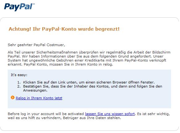 Paypal Konto Gesperrt Mail