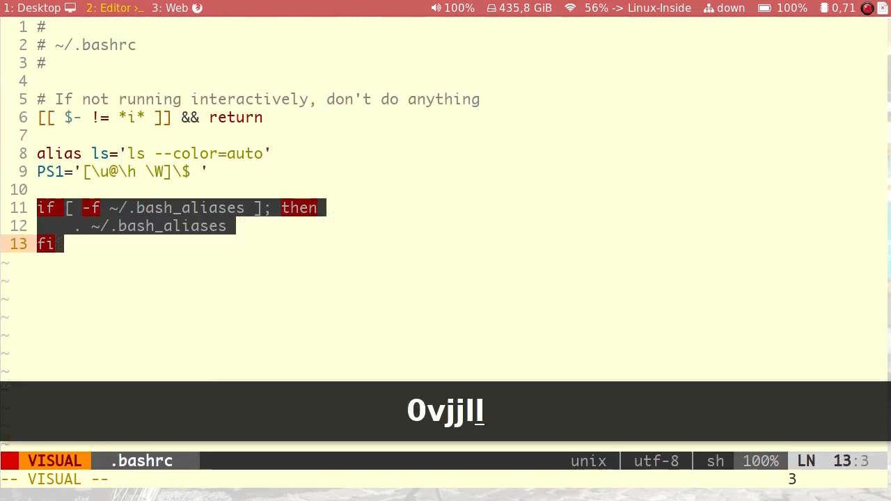 Editando o arquivo .bashrc para apontar para o arquivo de atalhos .bash_aliases