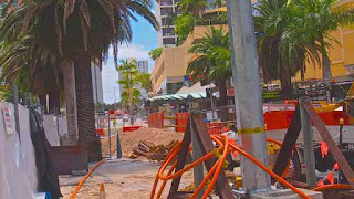 Light Rail underground services work Surfers Paradise Blvd