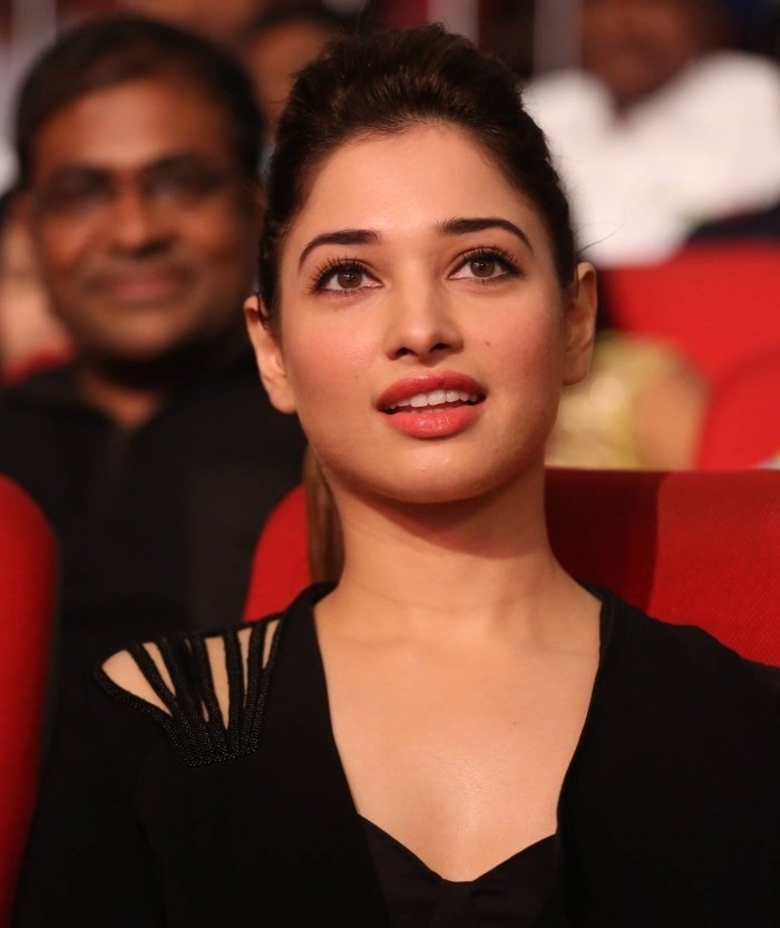 Tollywood Glamour Doll Tamannaah In Black Dress At Movie Audio Launch