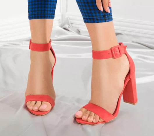 Sandale cu toc gros Corai moderne de ocazii si de zi la moda