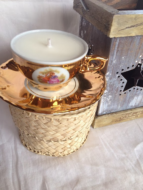 Vintage gold soy teacup candle