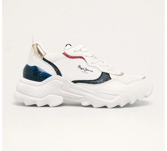 Pepe Jeans - Pantofi sport dama cu talpa groasa albi Eccles Clex