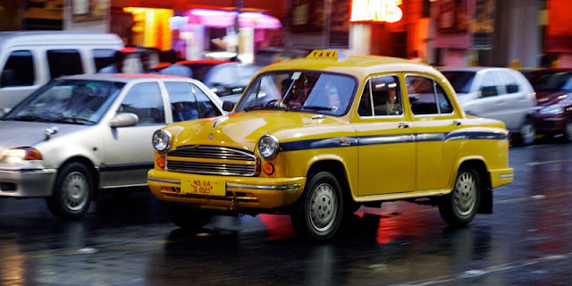 kolkata yellow commercial taxi