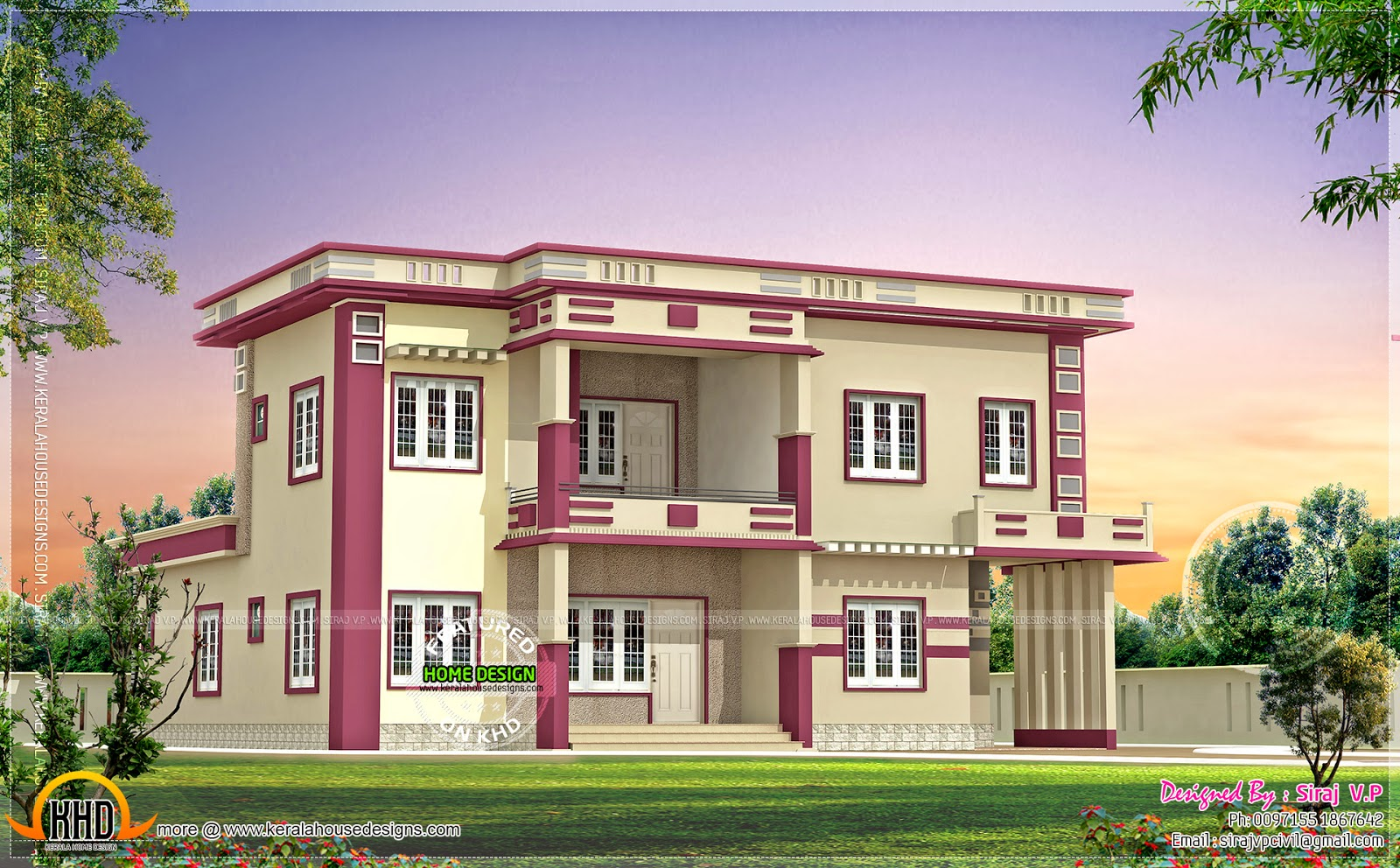Colour Combination For House Front Elevation : Contemporary villa in different color combinations