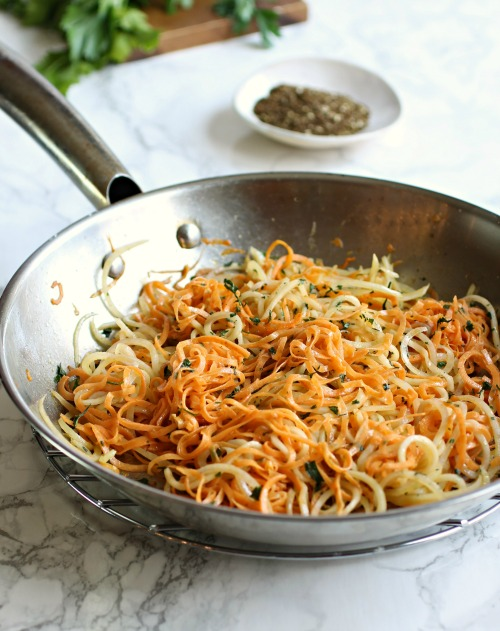 Spiralized White and Sweet Potatoes with Za'atar Tahini