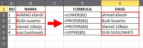 Contoh fungsi LOWER, PROPER dan UPPER Excel
