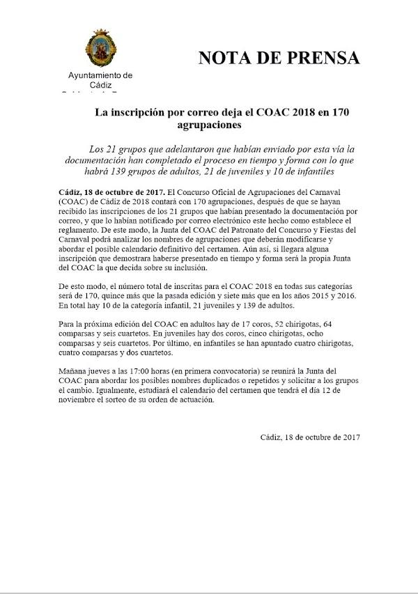 La inscripción por correo deja el COAC 2018 en 170 agrupaciones. 139 adultos, 21 juveniles y 10 infantiles