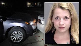 Ragazza fa selfie senza reggiseno e tampona auto della polizia