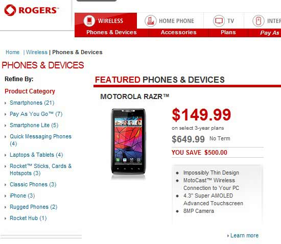 where i can buy contract free motorola razr in canada