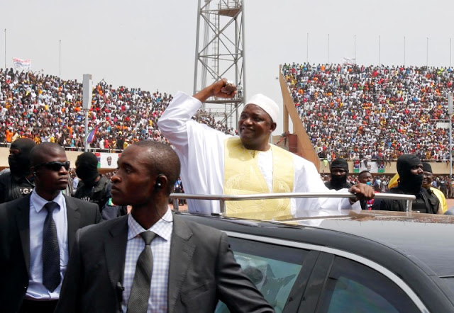 Image Attribute: Gambian President Adama Barrow arrives for the swearing-in ceremony and the Gambia's Independence Day at the Independence Stadium, in Bakau, Gambia February 18, 2017. REUTERS/Thierry Gouegnon/File Photo