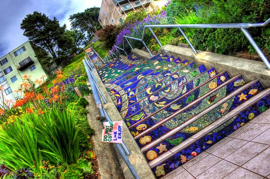 1. 16 Avenue Tiled Steps in San Francisco - 17 Beautifully Painted Stairs From All Over The World. #7 Is Insane!