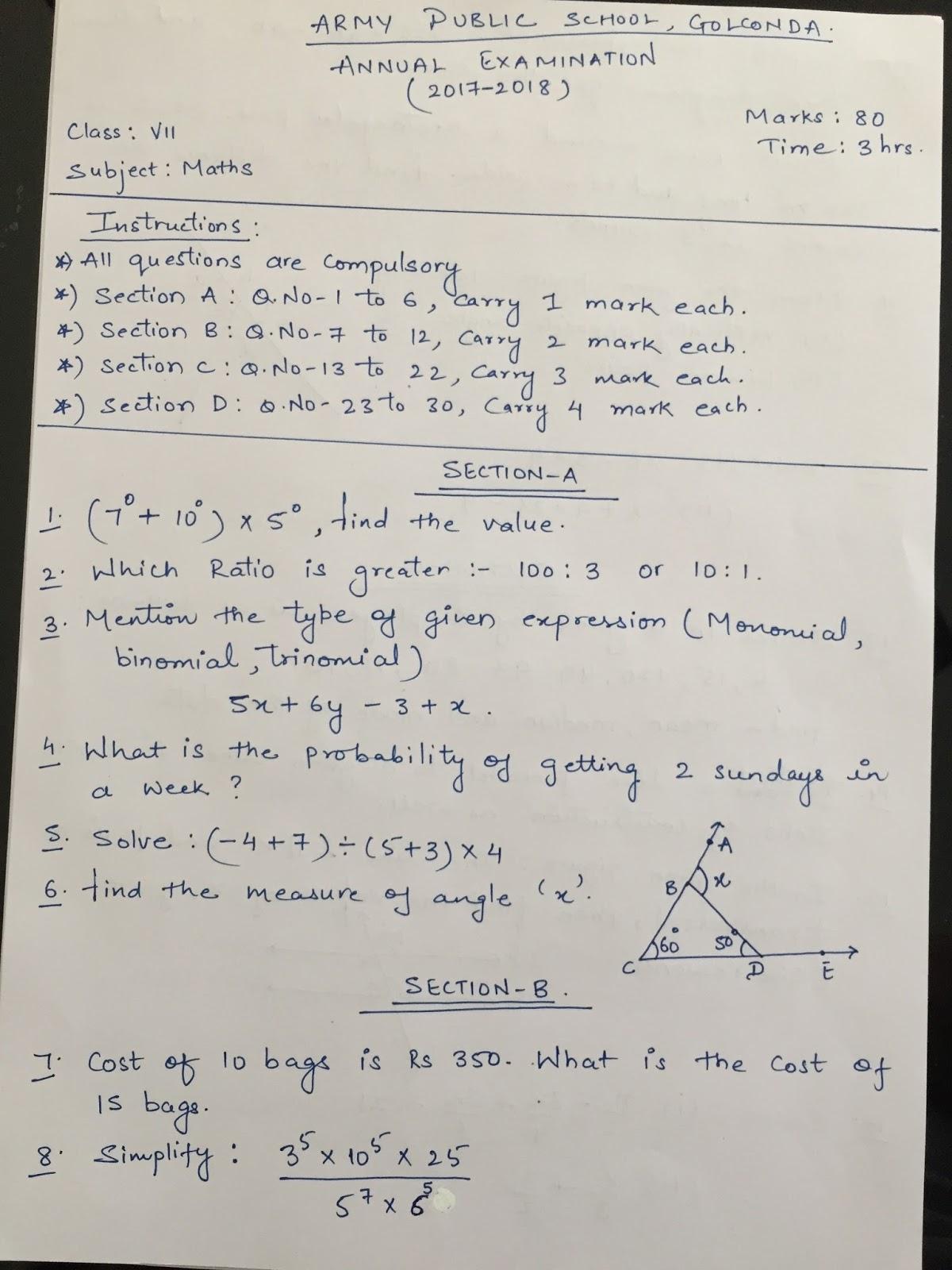 Apsg Class 7 Model Annual Exam Question Paper